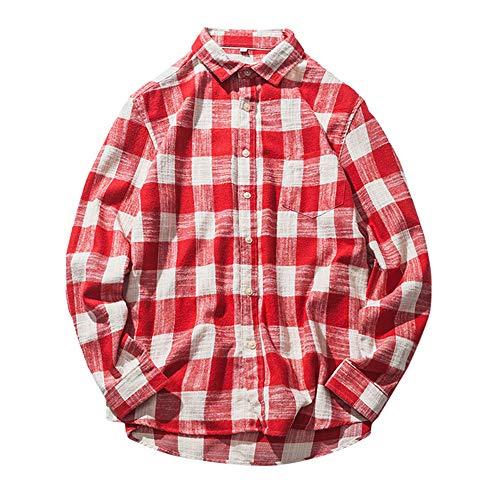 Oliviavan,Herren Herbst Casual Fashion Cotton Plaid Karo Langarm Shirt Top Bluse Schwarz Weiß Bequem Kariertes Hemd männliches zufälliges Langes Hülsen Hemd für Freizeit Arbeit Herren Businesshemd
