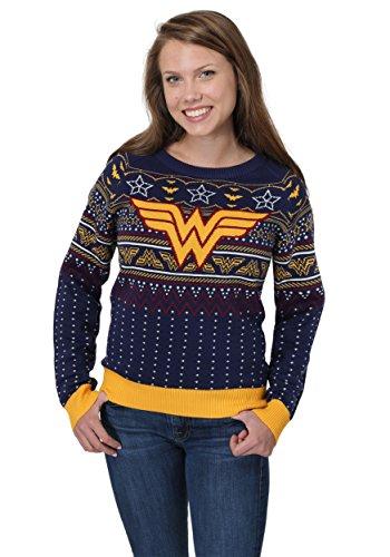 Wonder Woman Navy Womens Ugly Christmas Sweater -