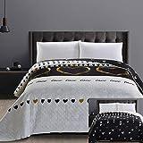 DecoKing 32541 Tagesdecke 220x240 cm Mikrofaser Bettüberwurf Steppung zweiseitig pflegeleicht schwarz weiß golden Herzen Love