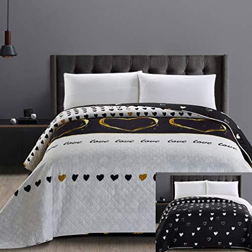 DecoKing 32534 Tagesdecke 200x220 cm Mikrofaser Bettüberwurf Steppung zweiseitig pflegeleicht schwarz weiß golden Herzen Love (Schwarz Und Herz Weiß)