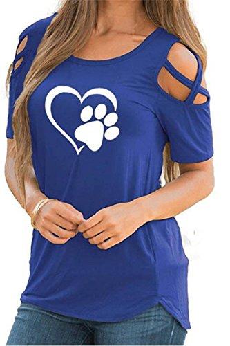 Masterein Frauen Mädchen O-Ansatz Herz-Katzen-Greifer-Druck-Sommer-T-Shirts Kurzarm T-Shirts Tops Blau M