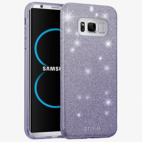 ZUSLAB Galaxy S8 Hülle, Schutzhülle Weiche TPU Abdeckung Glitzer Papier PC innere Schicht Drei in Einem Hülle für Samsung Galaxy S8 [Rosy][Regenbogen] Orchideengrau