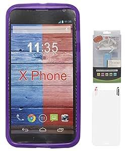 DMG Flexible Soft Matte TPU Back Cover Case for Motorola Moto X XT1058 (Purple) + 2200 mAh PowerBank + Matte Screen