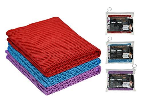 Hope Shine - Toalla refrescante para cuello, toalla refrescante para deportistas para deportes y toalla helada para fitness, juego de 3, Red+Turquoise+Purple