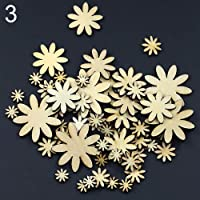 50Pcs Mixed Sizes Butterfly Flower Heart Golden Wood Buttons DIY Scrapbooking Sewing - Flower qingsb