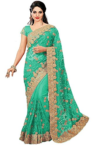 indian e fashion Green Net Embroidered Saree with blouse piece