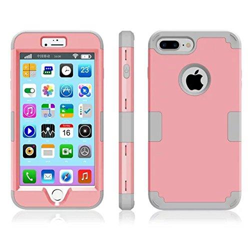 iPhone 7 plus hülle, Lantier 3 in 1 [weicher harter Tough Case] [Anti Scratch] [Stoßdämpfung ] Leichte Schlank Voll Body Armor Schutzhülle für iPhone 7 Plus (5,5 Zoll) Mint Green + Grau Pink+Grey