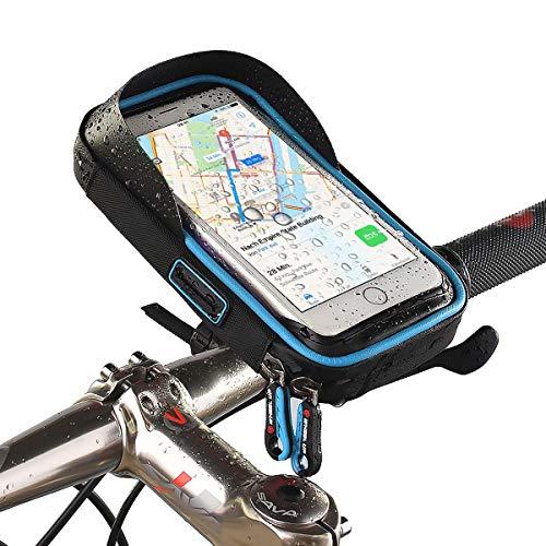 Smartphone-Halterung, Handy-Tasche für Fahrrad kompatibel mit Apple iPhone XS Max,XR,X,8,8 Plus/Samsung Galaxy Note 8,S10,S9,S8,S8+,S7,S7 Edge/LG G6,G4/Huawei P20,P10,Mate/Motorola usw. Schwarz-Blau