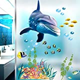 Zooarts Ocean Dolphin Fish Waterproof Removable Wall Stickers Decals for Bathroom