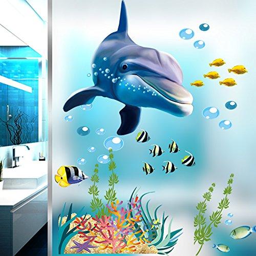 Zooarts Ocean Dolphin Fische Wasserdicht abnehmbarem Wand Aufkleber Decals für Badezimmer (Decals Kinder-spielzimmer)