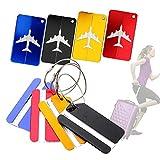 JTENG 8pcs Viaggio bagagli Tag Metallo Etichette per Valigia Tag Bagagli Identificazione ID Tag alluminio resistente con cavi in colori vivaci di blocco