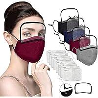 كمامة مزودة بواقي للعين مصنوعة من القطن مقاومة للغبار مع صمام لحماية العين للبالغين من 4 قطع و8 فلاتر للاستعمال الخارجي
