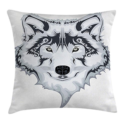 K0k2t0 Tattoo Decor Throw Pillow Cushion Cover, Astonishing Big Cat Famous Symbol of The Courage Leopard Head with Spots, Decorative Square Accent Pillow Case, 18 X 18 inches, White and Black -