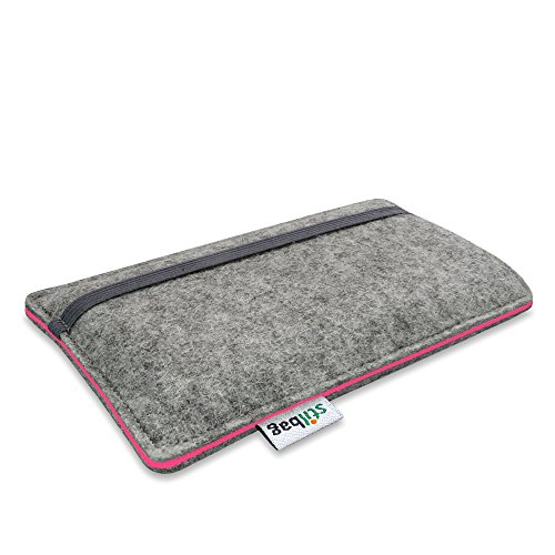 Stilbag Filztasche 'FINN' für Apple iPhone SE - Farbe: hellgrau/violett hellgrau/lachs