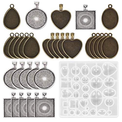 Yalulu Schmuck Gießform Silikonform Resin Mold mit 30 Stück Legierungstablett Anhängern für Cabochons Anhänger Halskette Ohrringe Schmuck Handwerk DIY