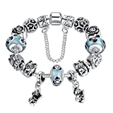 """BAMOER Vintage Silver """"Mother and Children"""" Hand-painted Flower Glass Bead Bracelet with Safety Chain"""