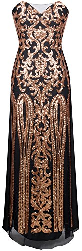 Angel-fashions Femme Robe col en V Floral Sequin Chiffon Satin Lace Up Party Noir