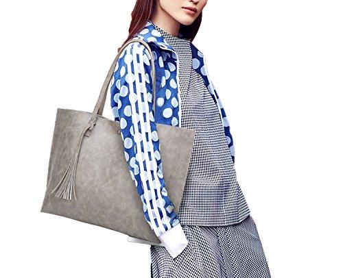 03860b34fc9b1 ... PB-SOAR Damen Mädchen Elegant Shopper Schultertasche Ledertasche  Schulterbeutel Henkeltasche Handtasche Einkaufstasche aus Kunstleder (