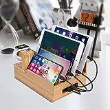 USB-Ladestation, MaxTronic Bamboo Organizer für Uhren-kompatible 4/5/6 Anschlüsse für Samsung Huawei Sony