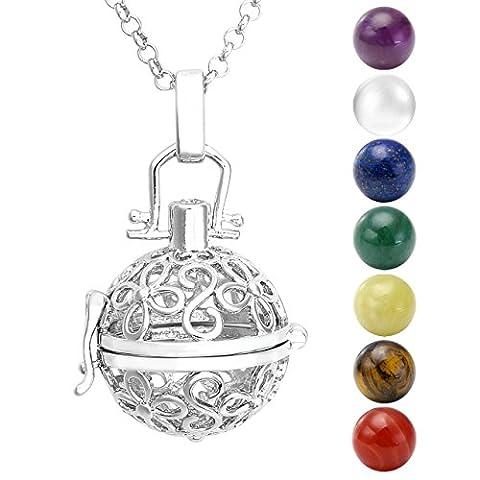 JSDDE Hollow Flower Aromatherapy Locket Pendant 7 Chakra Natural Beads Healing Crystal Gemstones Necklace(7 Chakra