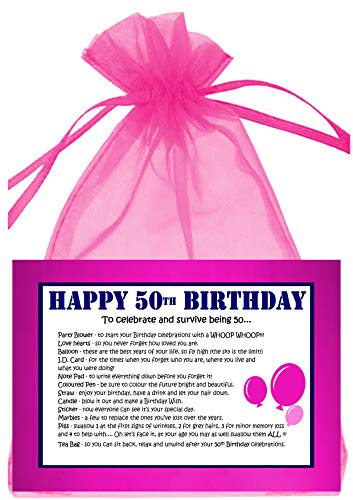 Pink 50th Birthday Survival Kit for Her