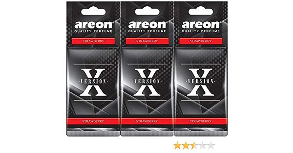 Areon X Auto Lufterfrischer Erdbeere Duft Schwarz Anhänger Aufhänger Spiegel Autoduft Pappe 2d Strawberry Set Pack X 3 Auto