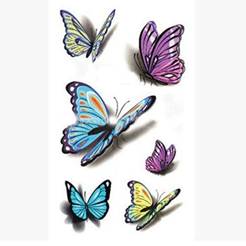 n temporär - 3D Schmetterlinge / Butterfly 6 einzelne - Oberarm / Unterarm / Oberschenkel / Unterschenkel / Wade / Beine / Dekolleté / Hüfte / Rücken / Bauch - 10,5 x 6 cm - Aufkleber Sticker Körperkunst Abziehbar - Wasserfest (Halloween 3d-make-up)