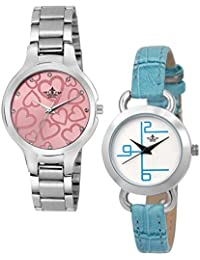 Swisso Stylish Analog Blue And Silver Color Watch For Women's And Girls SWS-358SL-BL, Pack Of 2