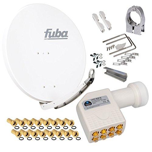 FUBA 85cm für 8 Teilnehmer (Direktanschluss) Digital SAT Anlage DAA850W + Octo LNB weiß 0,1dB FULL HDTV 4K 3D + 16 Vergoldete F-Stecker und F- Montageschlüssel gratis dazu