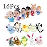 16Pcs Educational Puppets Story Time Finger Puppets Members Include 10 Animals and 6 People Family