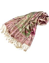 LORENZO CANA Pashmina reine Seide Damenschal 70 x 190 cm Grün Rosa Pink Gold Paisley Seidenschal Damentuch 78082