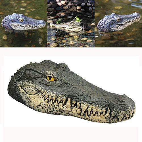 POODUTK Schwimmende Krokodilkopf Wasser Lockvogel Gartenteich Dekor für Gänsehaut Wassersimulation Krokodilkopf Statue