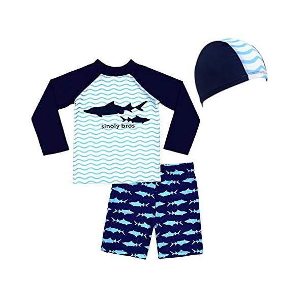 Traje de Baño para Niños de Dos Piezas con un Gorro de Natación de Surf Playa UV Protection Bath Set 1