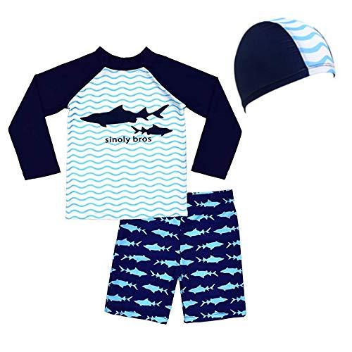 Traje de Baño para Niños de Dos Piezas con un Gorro de Natación de Surf Playa UV Protection Bath...