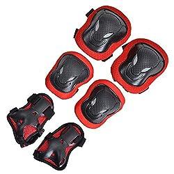 Vermelho : Maxkare 6 PCS Almofadas De Proteo No Joelho Cotovelo Pulso Guarda Protetor Joelheira Patins Adulto Crianas Skate Paintball Engagem