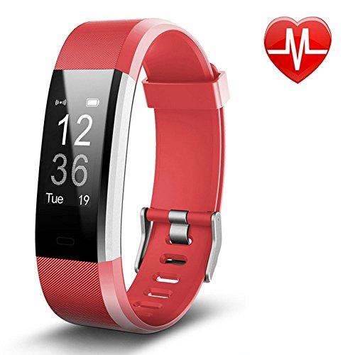 Pulsera Actividad Pulsera Inteligente con GPS, IP67 Impermeable Pulsera Móvil Monitor de Ritmo Cardíaco, Sueño, Control de Musica y Cámara, Reloj Inteligente para iOS y Android Rojo