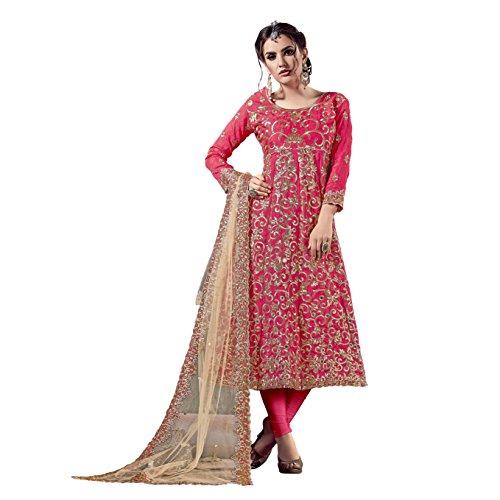 Ethnic Empire Women's Banglory Silk Anarkali Salwar Suit Set (Eed-Ea11144_Pink_Free Size)