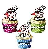 vorgeschnittenen Farbe & Pinsel Kunst und Craft Motto–50. Geburtstag–Essbare Cupcake Topper/Kuchen Dekorationen (12Stück)