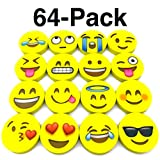 Monqiqi Pack of 64 Emoji Erasers for Birthday Party Favor Supplies Goodie Bags Prize Rewards Classroom School Supplies