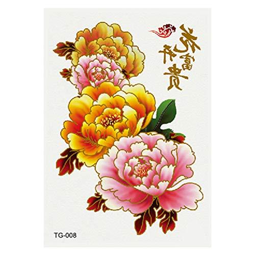 Heißprägesilber Tätowierungsaufkleber bunte Metalltätowierungsaufkleberblume öffnen reiches Pfingstrosentätowierung 3Pcs-8 10.5 * 14.8cm