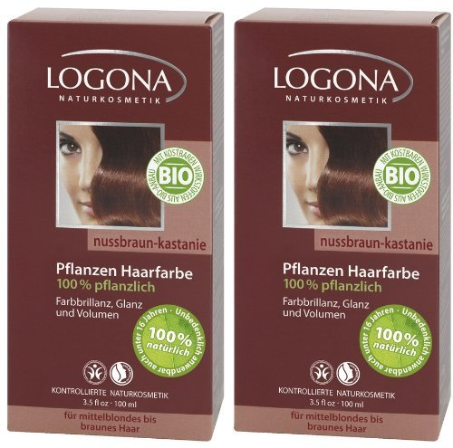 Logona Henna Haarfarbe Pflanzenhaarfarbe nussbraun kastanie im Doppelpack 2 x 100 g