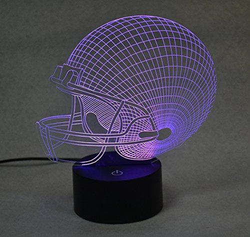 weiyikang Optische Illusion 3D Acryl Football Helm Lampe 7Farbe einschalten Helm Lichter
