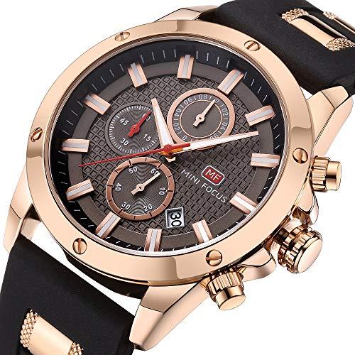 Uhren für Herren Sportuhren Chronograph Date Wasserdicht Quarz Armbanduhr mit Silikonband