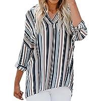 Geili Damen Shirt Frauen Bürodame Basic Langarm V-Ausschnitt Streifen-Druck Mode Chiffon Bluse Arbeit T-Shirt... preisvergleich bei billige-tabletten.eu