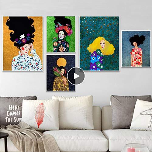 Moderno pintura al óleo moda Vintage mujer maquillaje belleza peluquería modelo arte de la pared de la lona carteles e impresiones de pared cuadros para la sala de estar decoración 5pcs