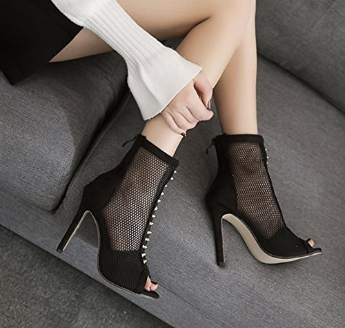 KHSKX-Autunno Nero 8.5Cm Solo Scarpe Stivali Impermeabili Nella Bocca Di Pesce Femmina Dew I Tacchi Alti Magri Tacco Elastica A Boots,36 Thirty-six