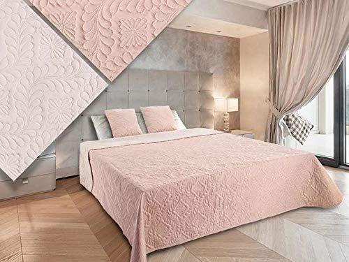 Zweiseitige Tagesdecke Bettüberwurf 3 TLG. 220x240 +2 Kissenbezüge Vigo 35 Puderrosa Rosa Ecru
