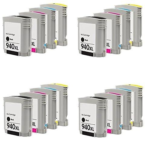 Prestige Cartridge HP 940XL Pack de 16 Cartouches d'encre compatible avec Imprimante HP Officejet Pro Séries, Noir/Cyan/Magenta/Jaune