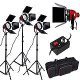 3200K 2400W Eclairage continu kit pour Studio/Vidéo photo à lumière douce -- 3* 800W Ampoule halogène couleur d'éclairage jaune, 3* Projecteur mandarine ventilé dont la puissance et focalisation réglable, plus trépied support avec sac de transport photographie kit spécialement pour tournage