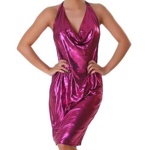 Kleid Cocktailkleid Wasserfall-Ausschnitt Leder-Optik Wet-Look Einheitsgröße (36-40) - Pink (Metallischen Pullover Ärmel Kurze)